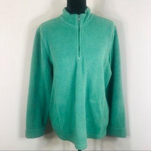 LL bean Green pullover 1/4 Zip sweater . Size XL